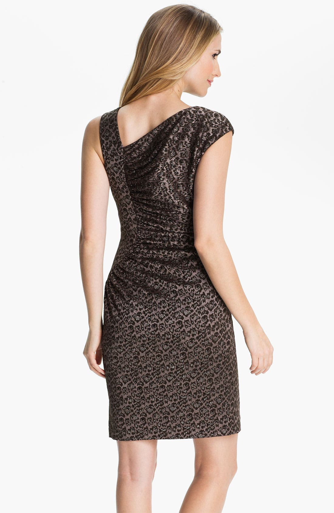 Alternate Image 2  - Adrianna Papell Asymmetrical Neck Textured Sheath Dress