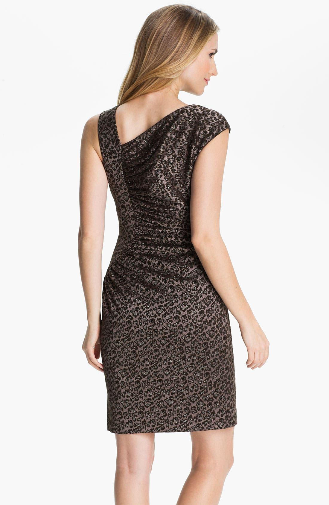 Alternate Image 2  - Adrianna Papell Asymmetrical Neck Textured Sheath Dress