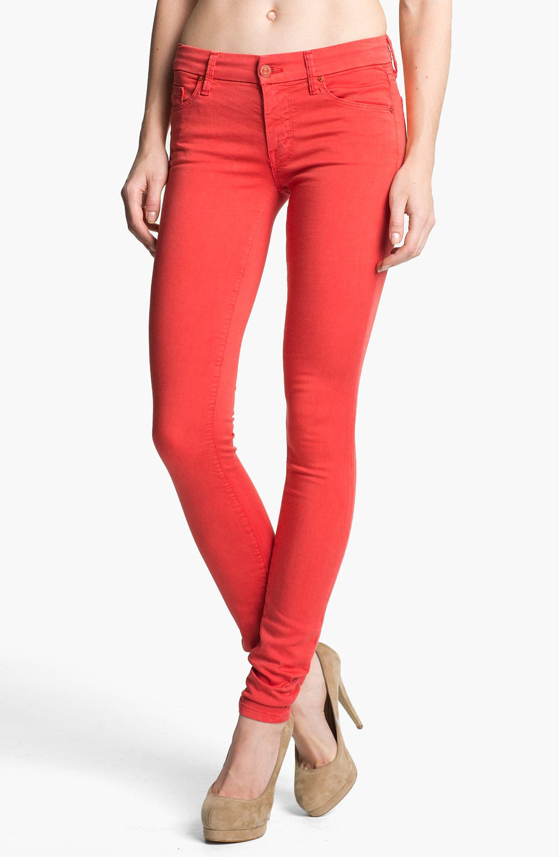 Alternate Image 1 Selected - MOTHER 'The Looker' Skinny Stretch Jeans (Rambutan Red)