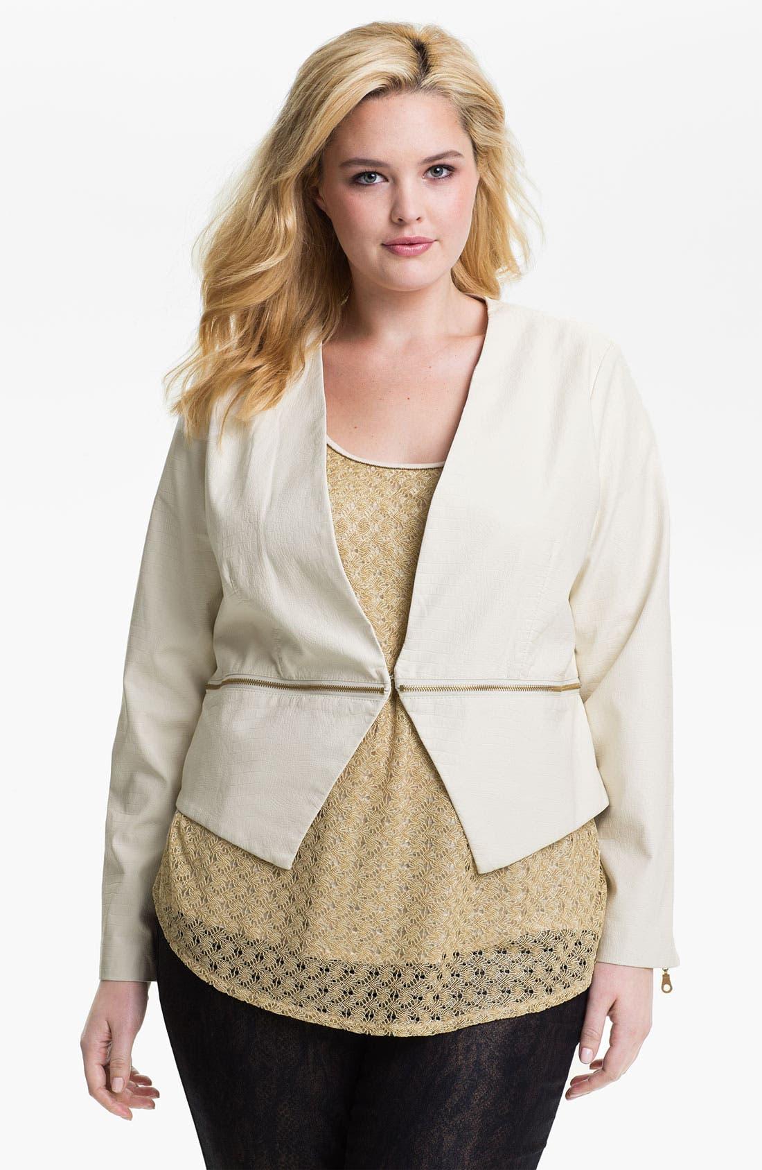 Alternate Image 1 Selected - Mynt 1792 'Chelsea' Zip Detail Faux Leather Jacket (Plus)