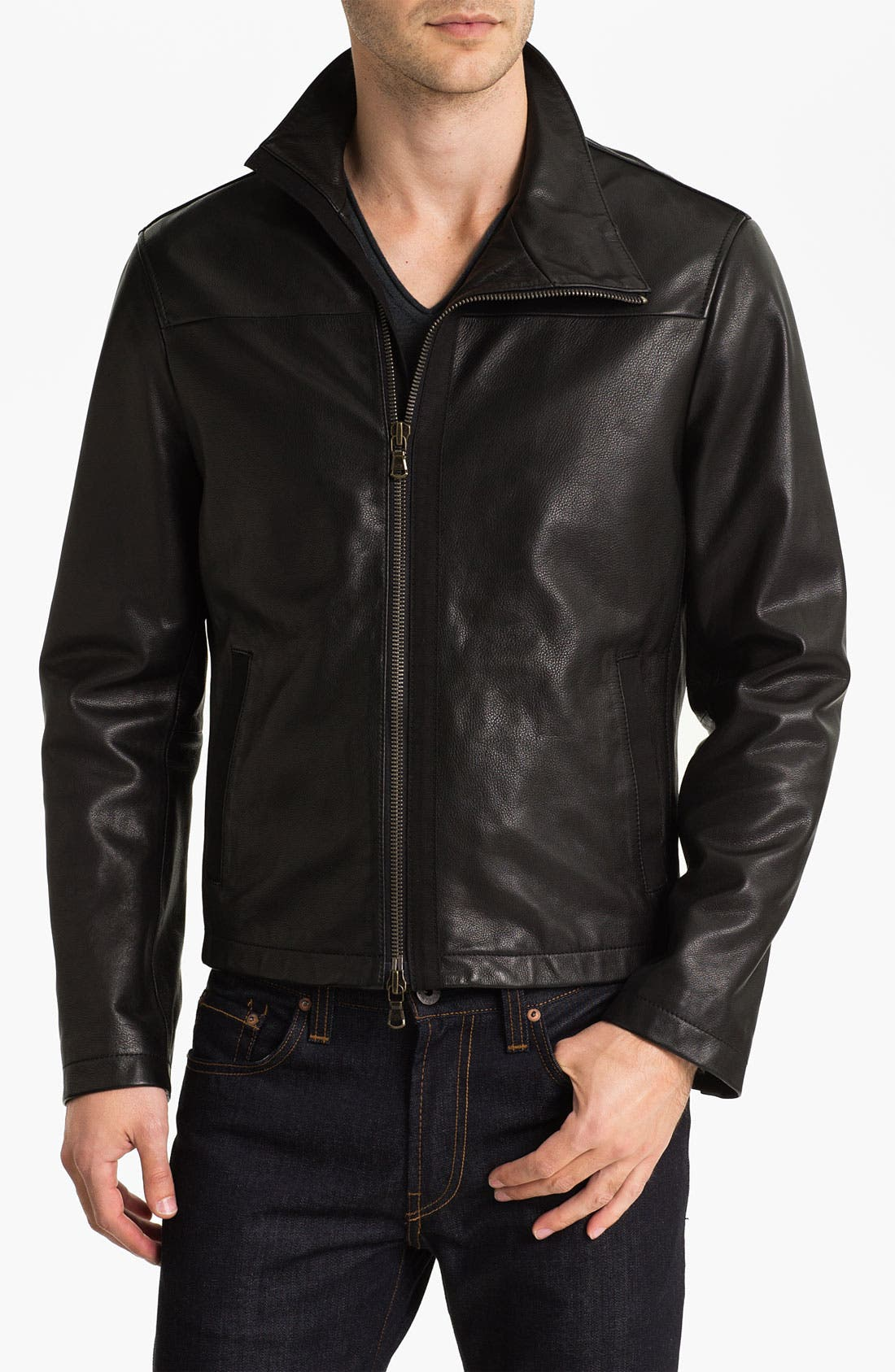 Main Image - John Varvatos Star USA Leather Moto Jacket