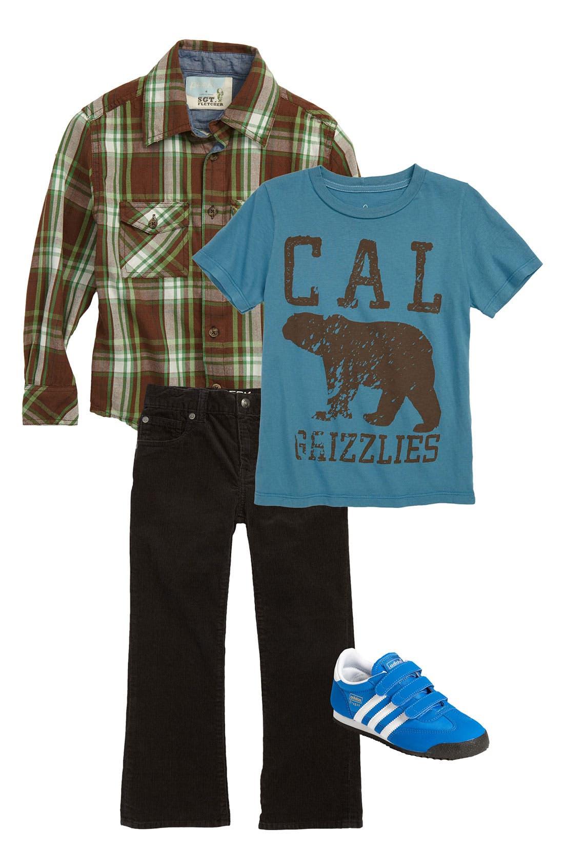 Main Image - Peek T-Shirt, Plaid Shirt & Jeans (Toddler, Little Boys & Big Boys)