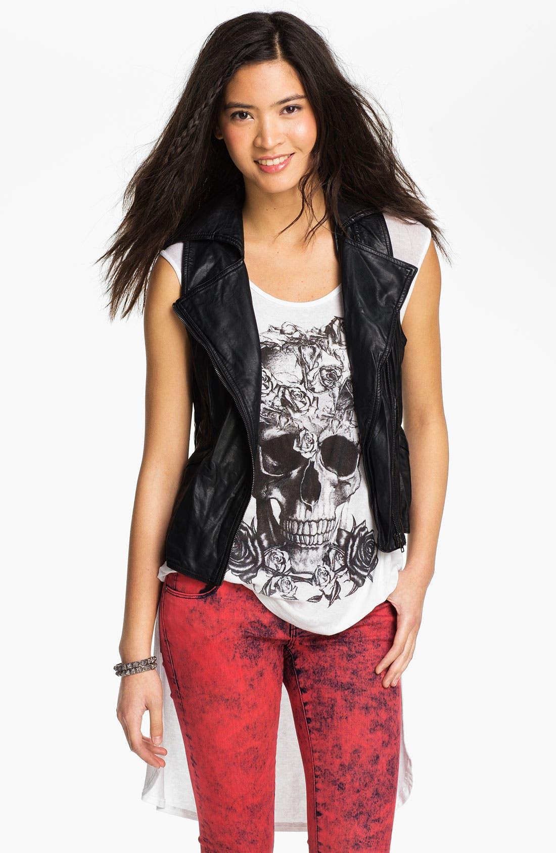 Main Image - Thread & Supply Faux Leather Biker Vest (Juniors)