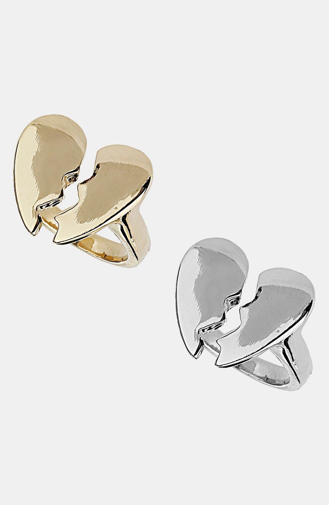 Main Image - Topshop 'Broken Heart' Rings (Set of 2)