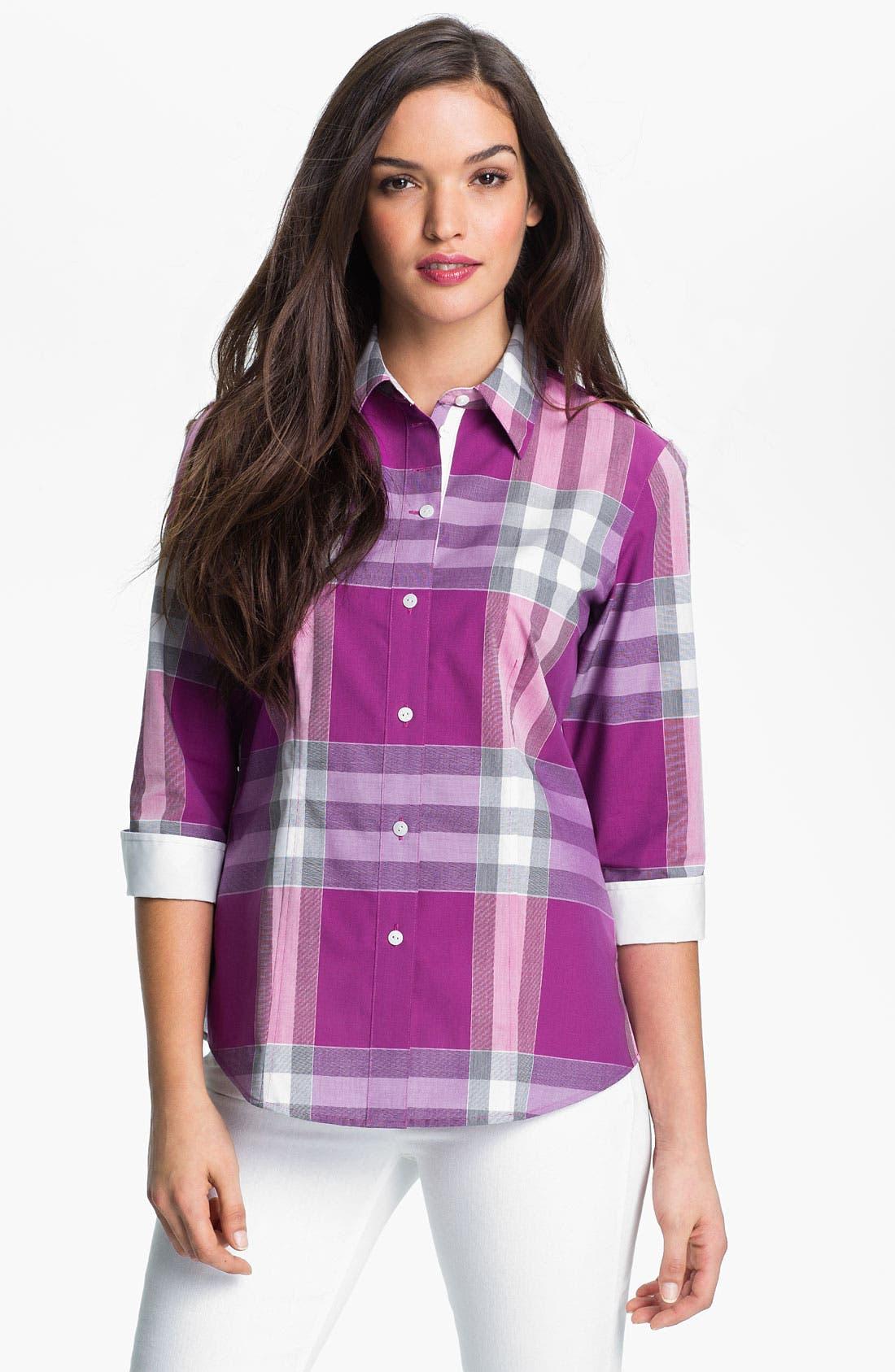 Alternate Image 1 Selected - Foxcroft Three Quarter Sleeve Plaid Shirt
