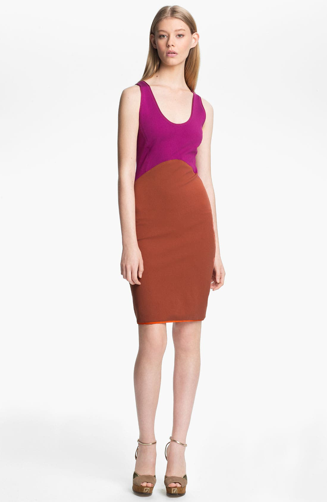 Main Image - Halston Heritage Colorblock Ponte Tank Dress