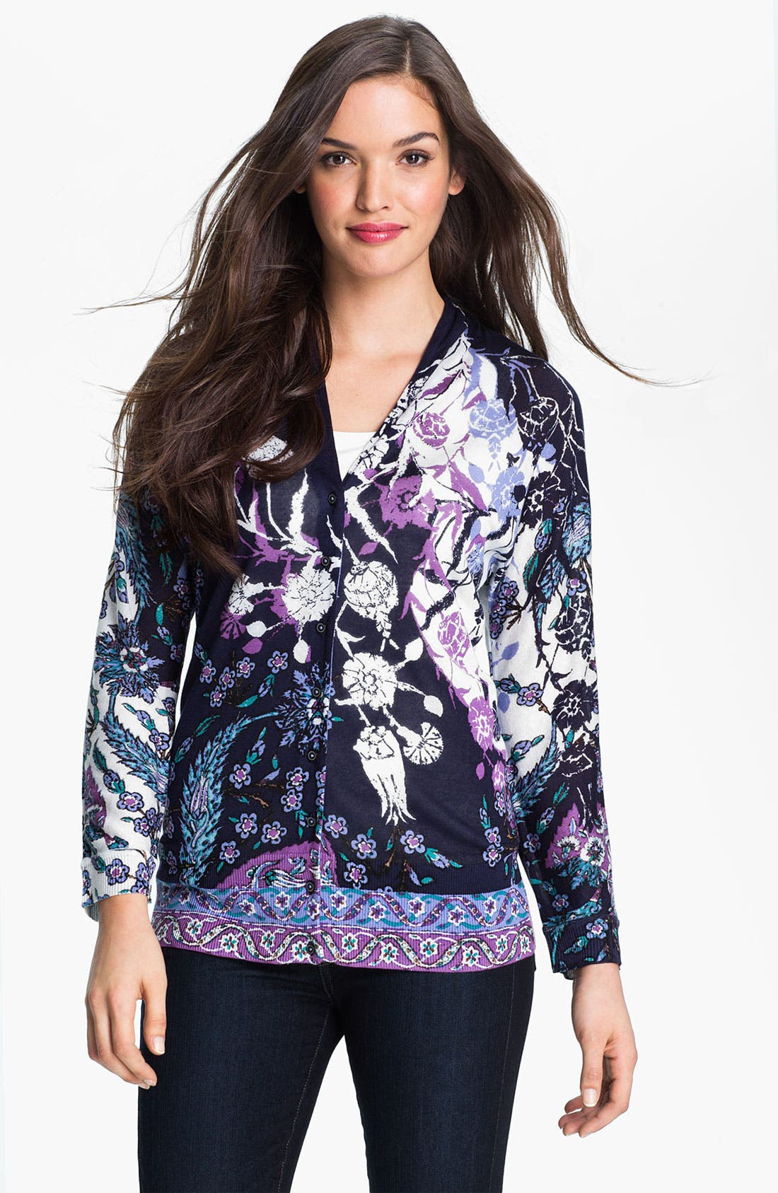 Main Image - Nic + Zoe 'Evening Petals' V-Neck Cardigan
