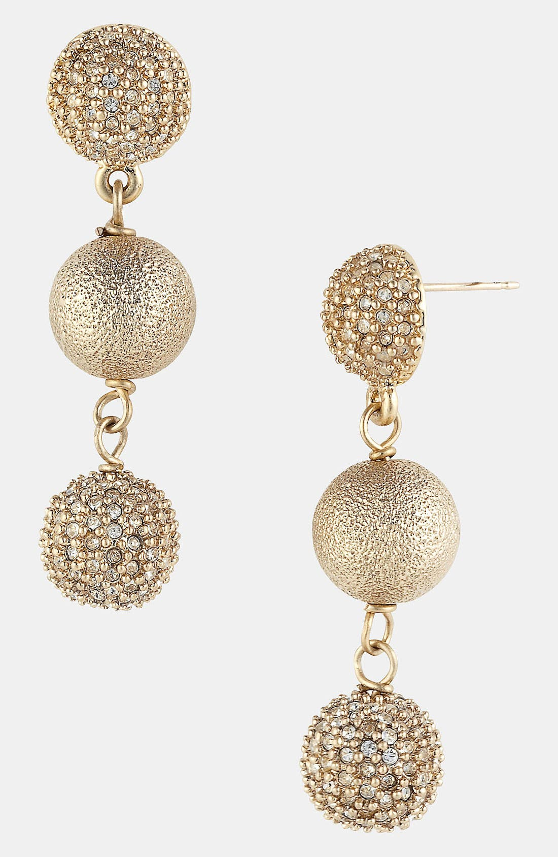 Main Image - St. John Collection Brushed Gold & Crystal Drop Earrings