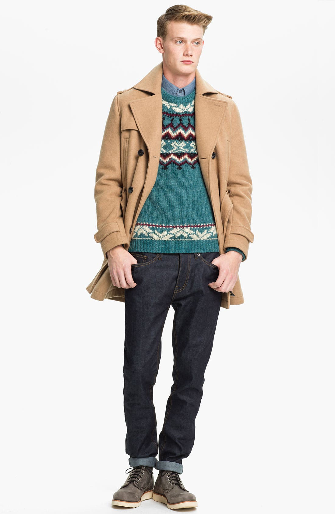 Alternate Image 4  - Topman Pattern Crewneck Sweater