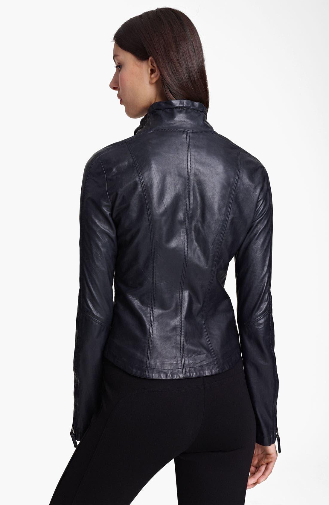 Alternate Image 2  - Armani Collezioni Washed Leather Jacket