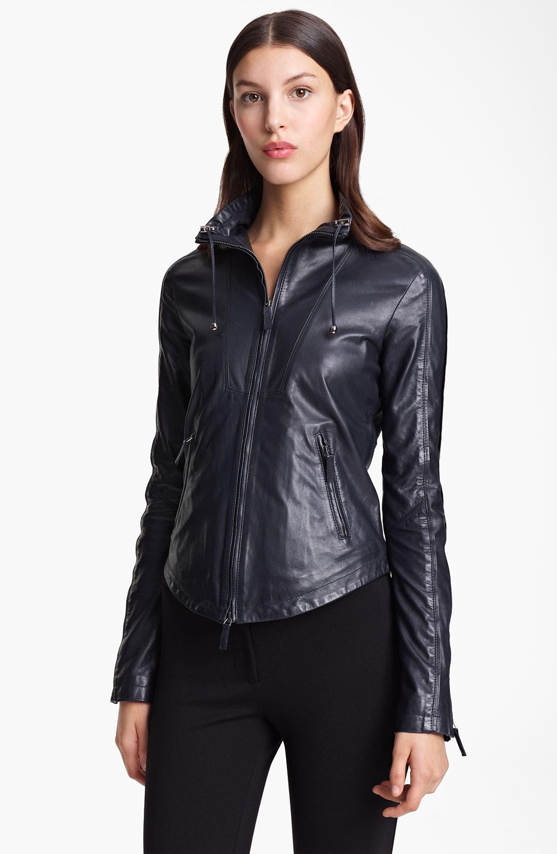 Alternate Image 1 Selected - Armani Collezioni Washed Leather Jacket