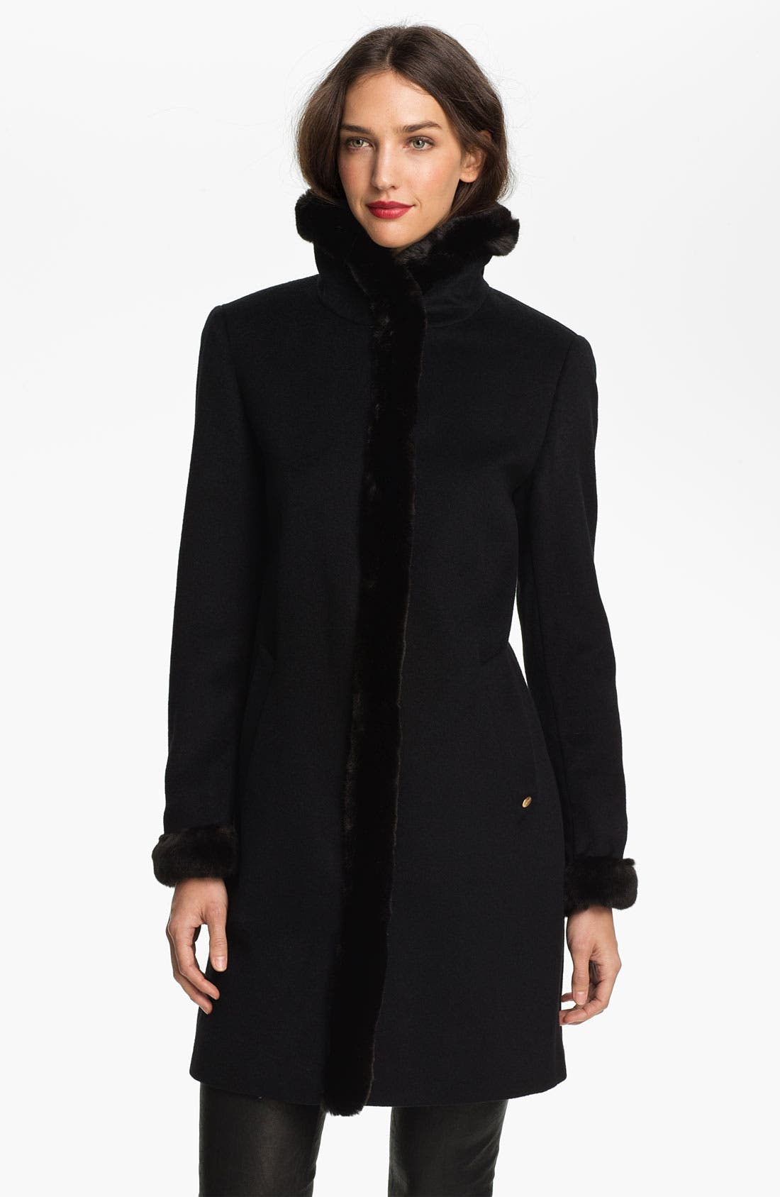 Main Image - Ellen Tracy Faux Fur Trim Walking Coat