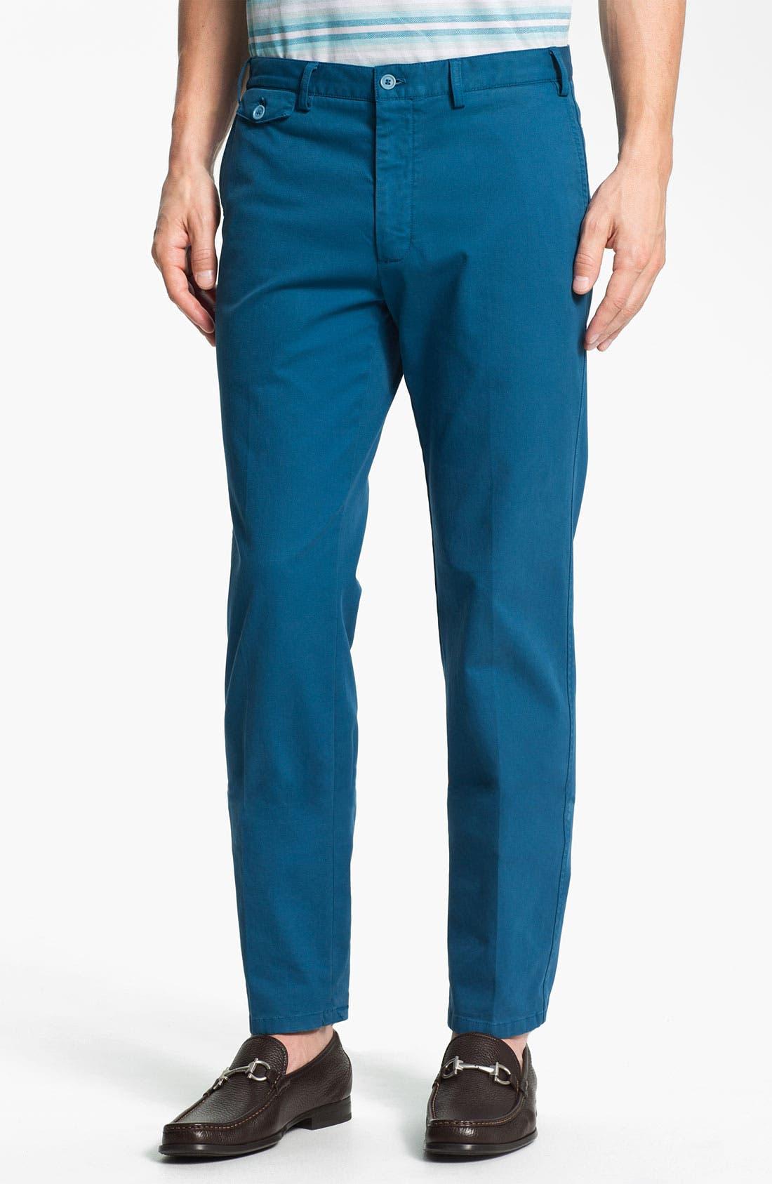 Alternate Image 1 Selected - Salvatore Ferragamo Flat Front Pants