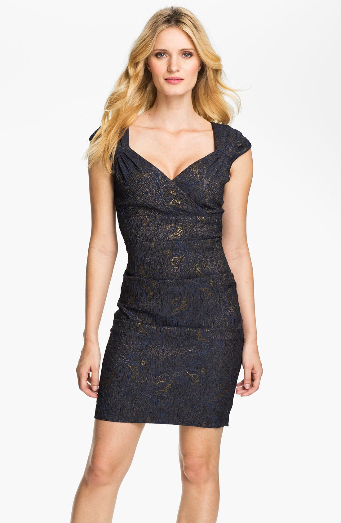 Main Image - Alex Evenings Ruched Textured Sheath Dress