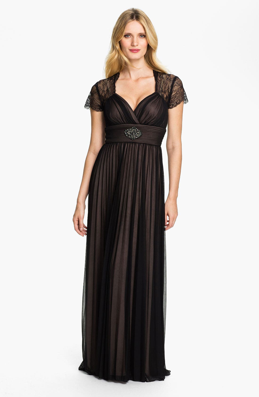 Alternate Image 1 Selected - Betsy & Adam Lace Sleeve Pleated Mesh Gown