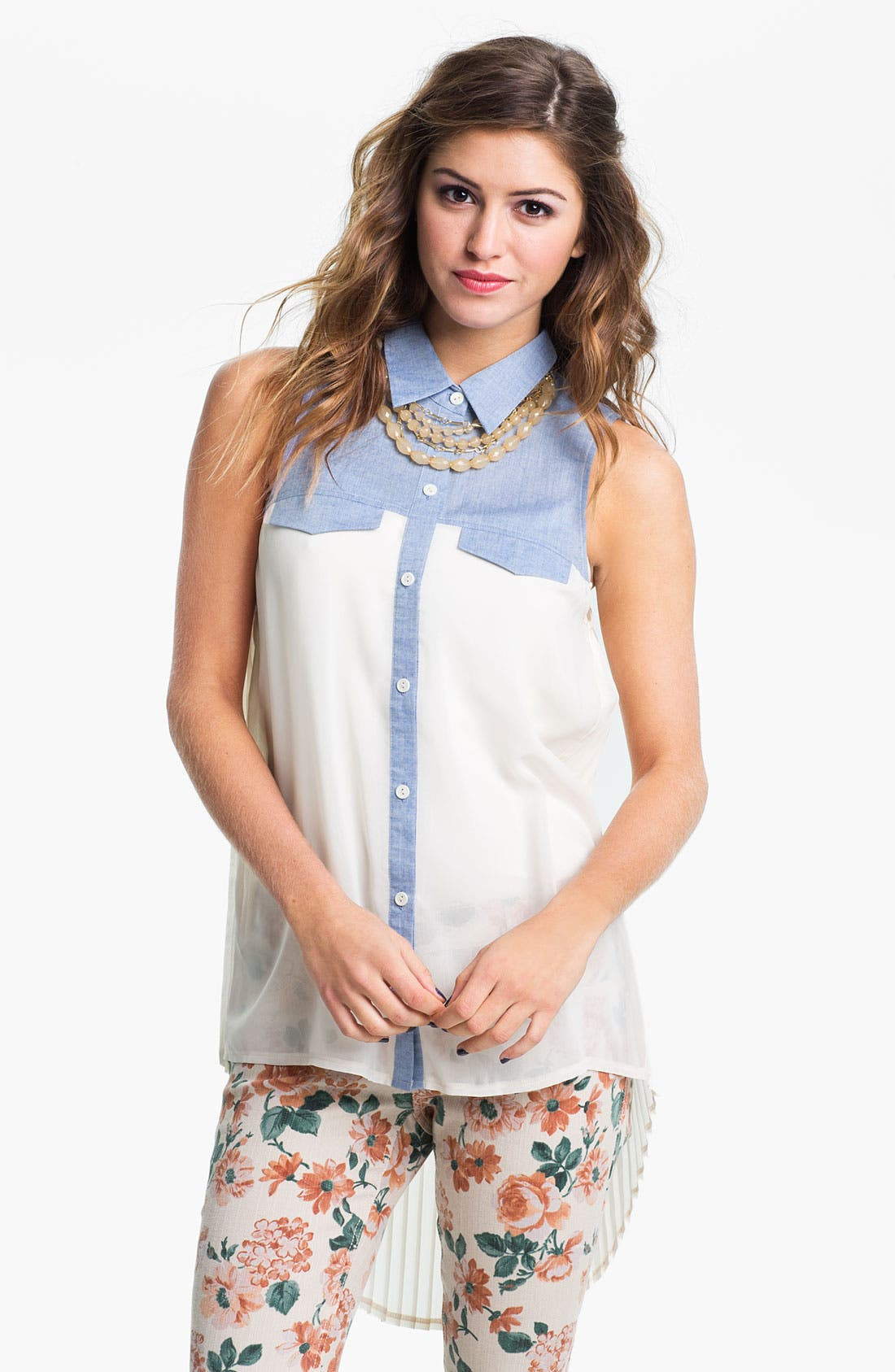 Alternate Image 1 Selected - Lush Chambray & Chiffon Shirt (Juniors)