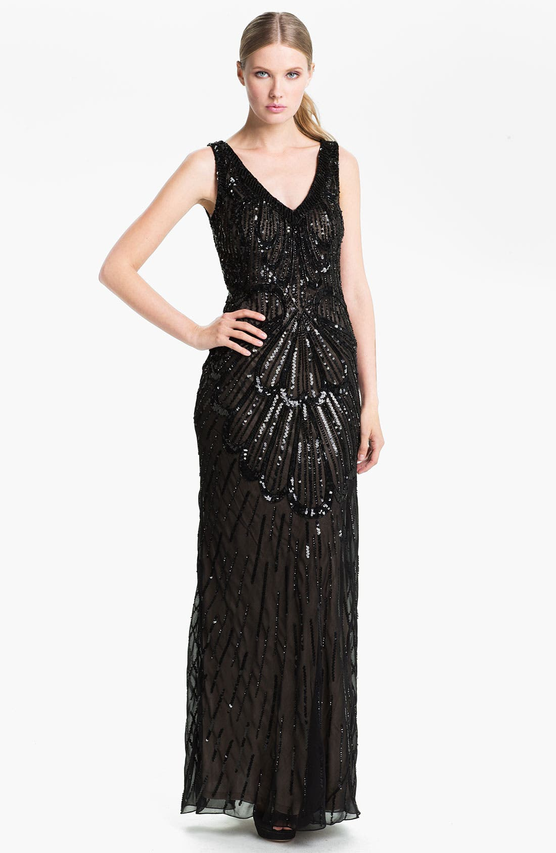 Main Image - JS Collections Sheer Back Sequin Chiffon Gown