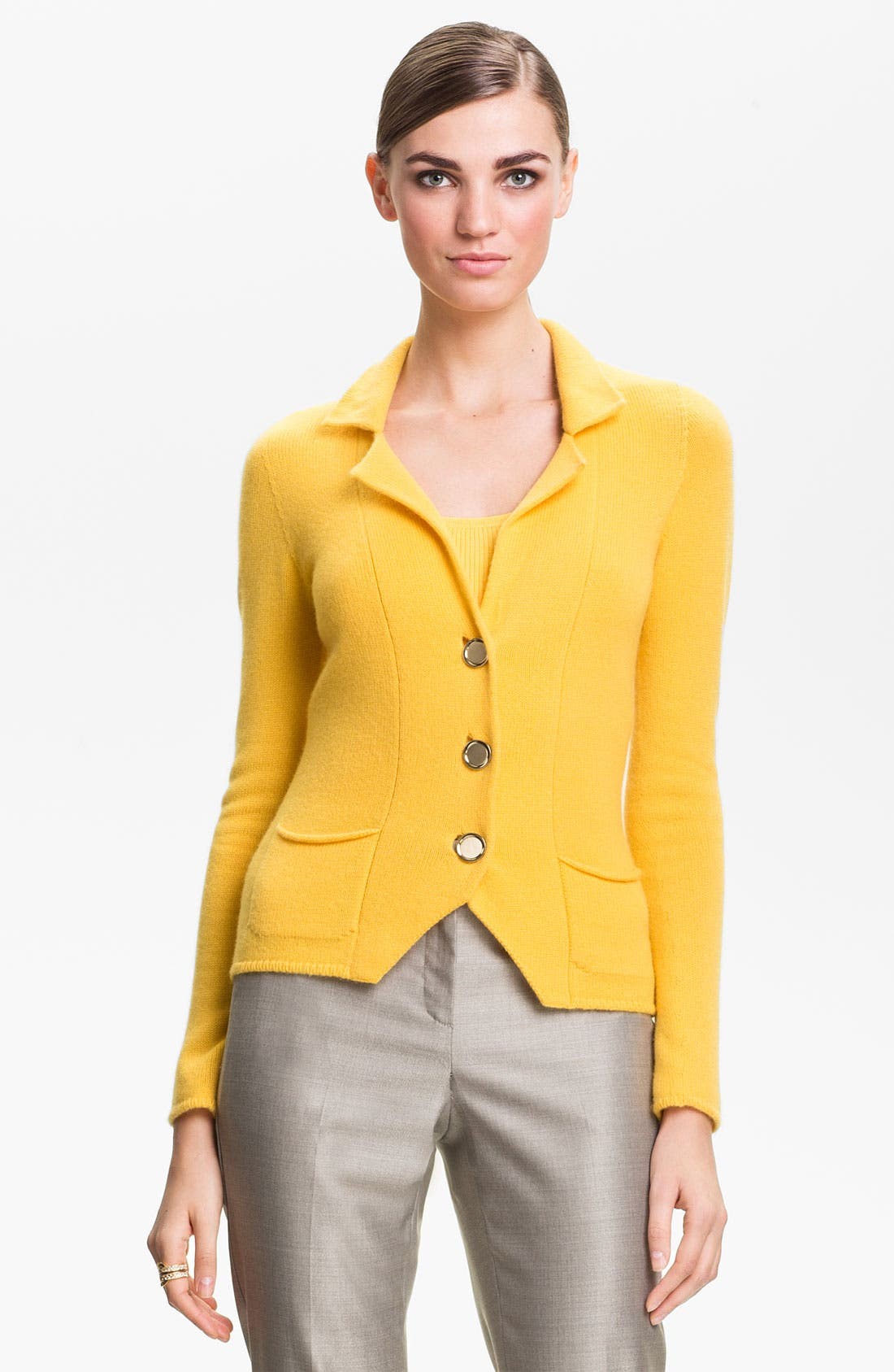 Main Image - St. John Collection Fitted Cashmere Knit Jacket