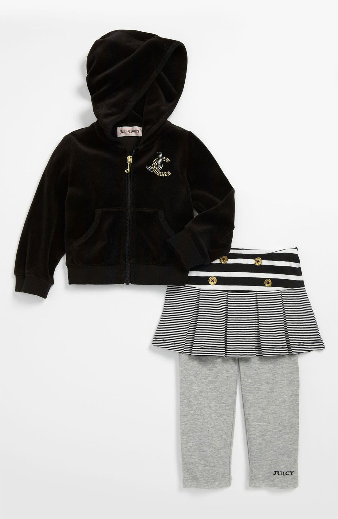 Alternate Image 1 Selected - Juicy Couture Hoodie & Skirt Leggings (Infant)
