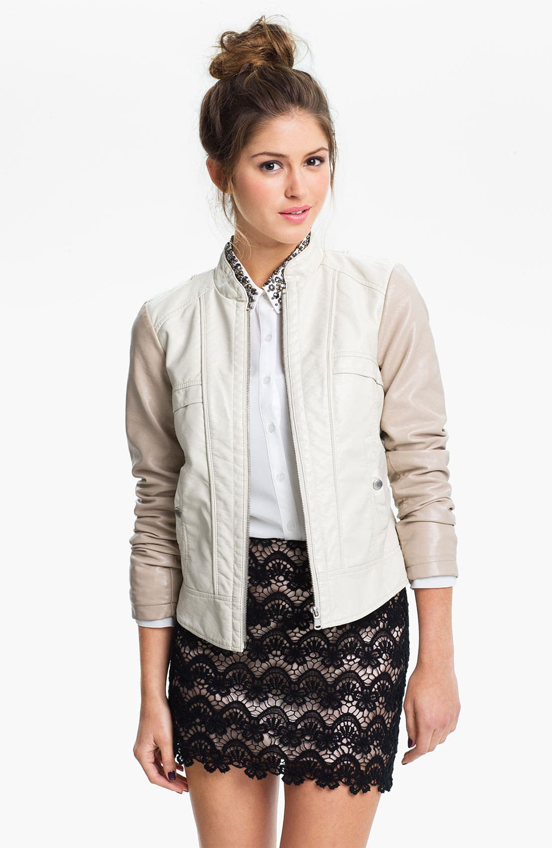 Alternate Image 1 Selected - Collection B Colorblock Faux Leather Jacket (Juniors)