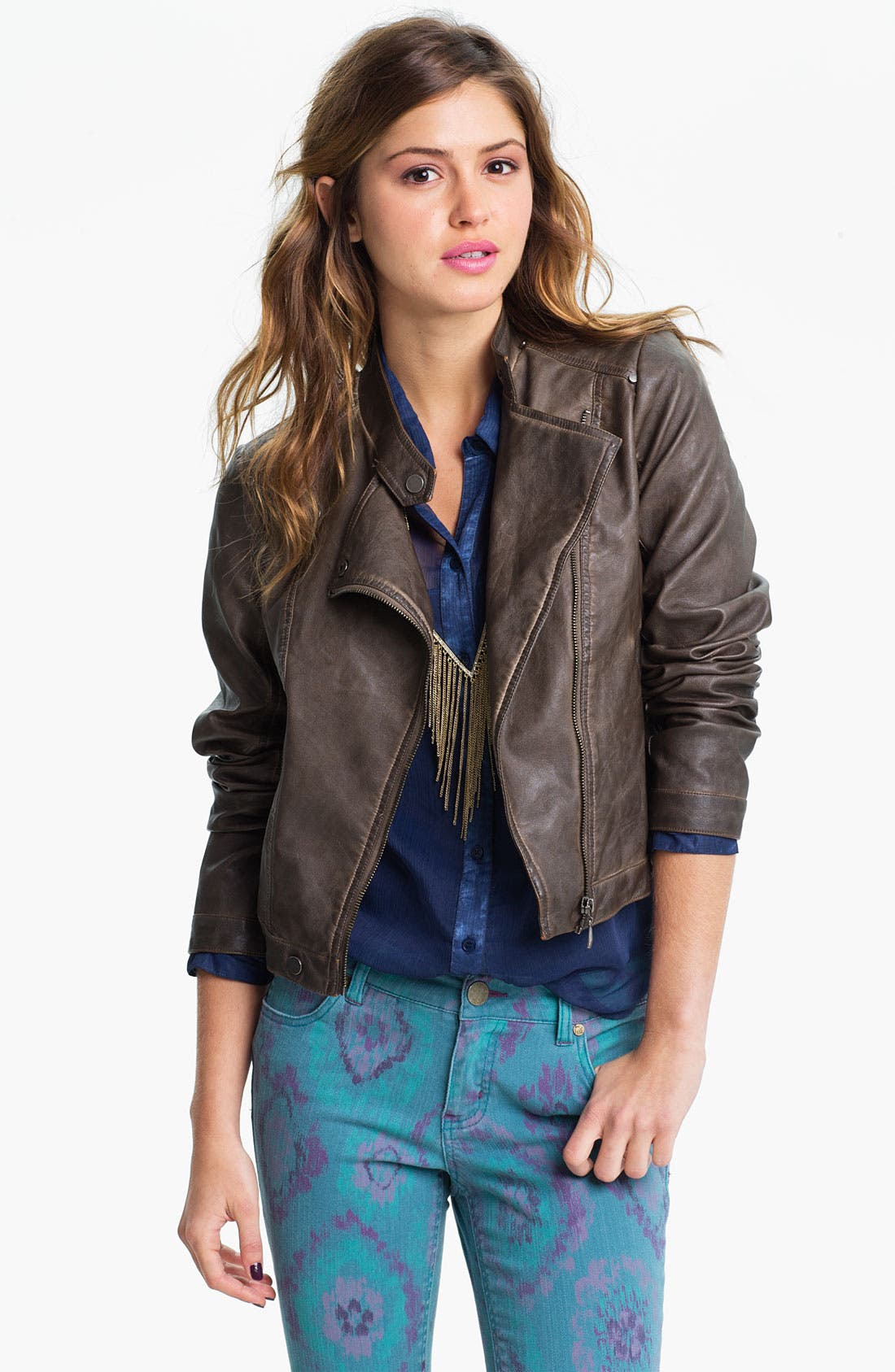 Alternate Image 1 Selected - Collection B Vintage Faux Leather Biker Jacket (Juniors)