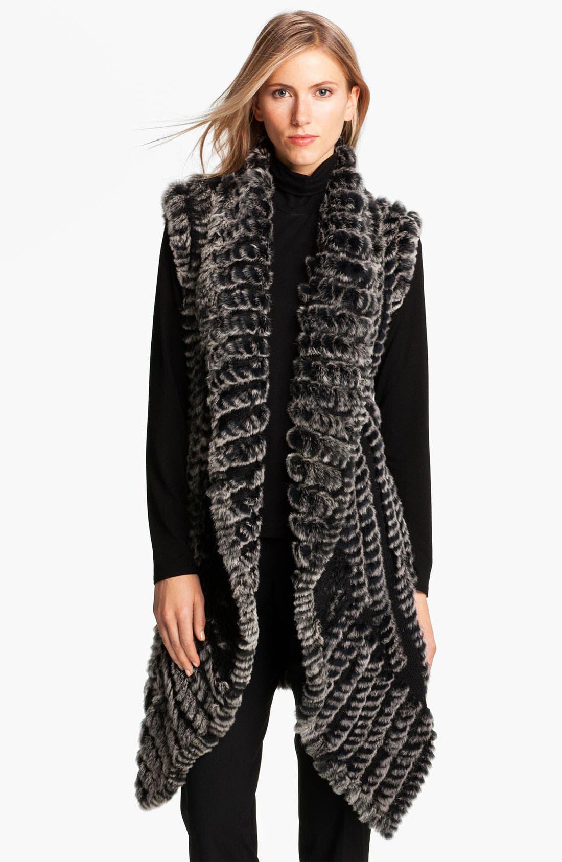 Main Image - Alberto Makali Knit & Genuine Rabbit Fur Vest