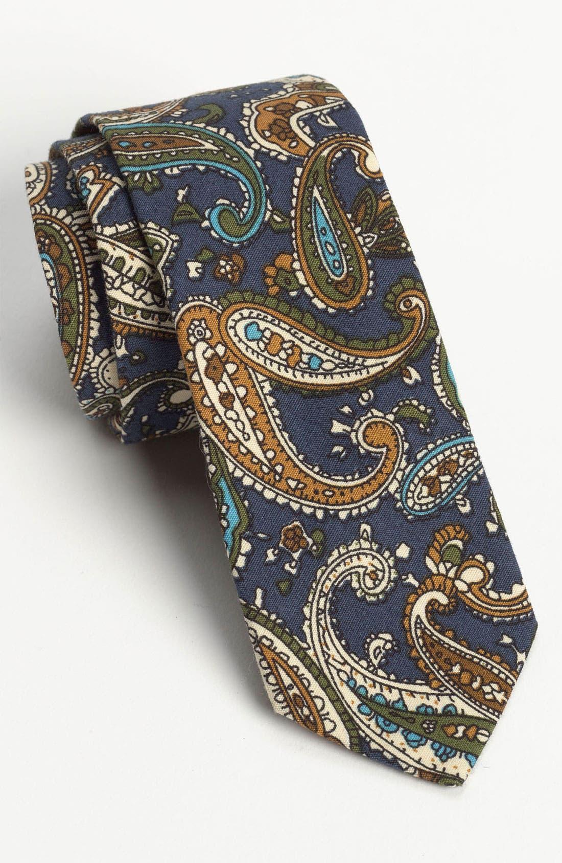 Main Image - Topman Paisley Print Woven Cotton Tie