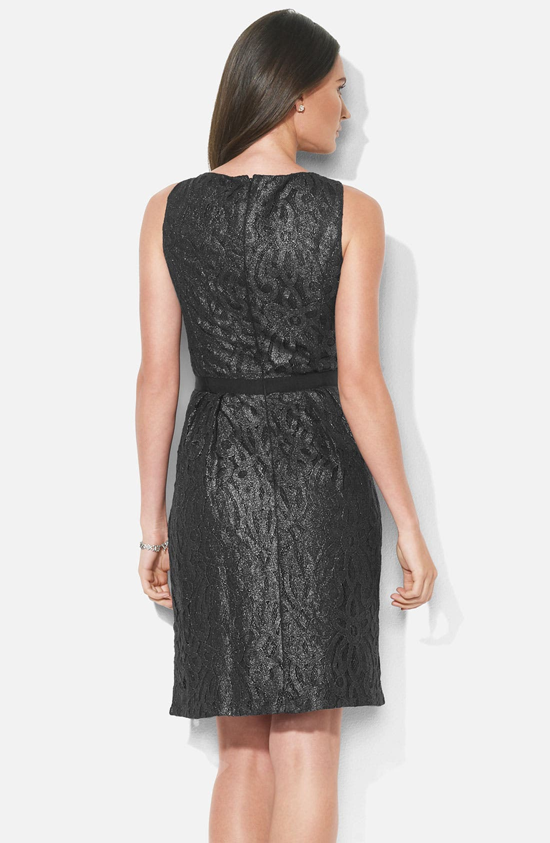 Alternate Image 2  - Lauren Ralph Lauren Bateau Neck Metallic Lace Dress (Petite)
