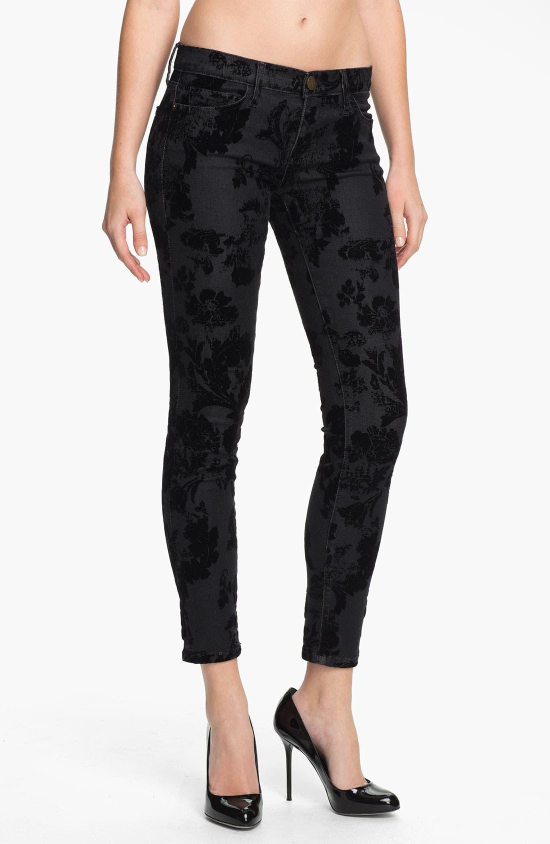 Alternate Image 1 Selected - Current/Elliott Ankle Zip Skinny Jeans (Black Velvet Floral)