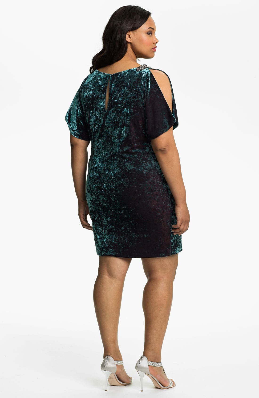 Alternate Image 2  - Aidan Mattox Split Sleeve Crushed Velvet Shift Dress