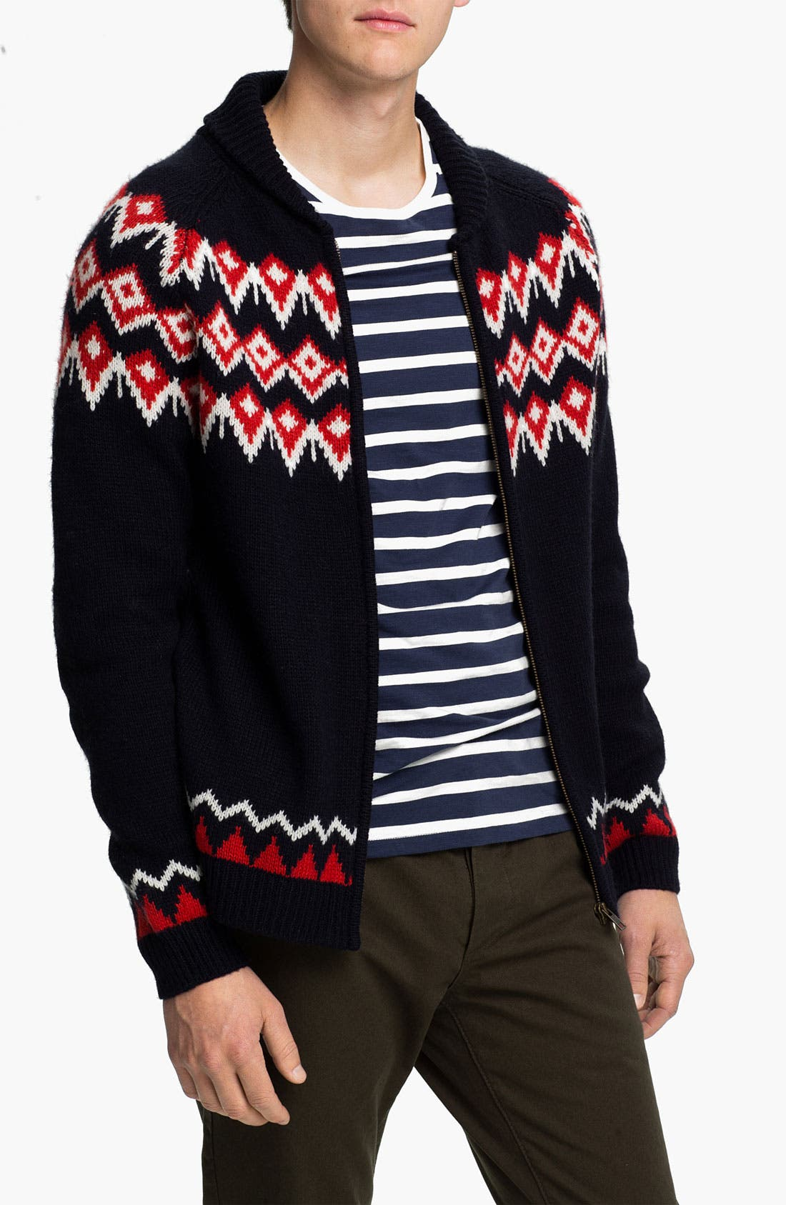 Alternate Image 1 Selected - Topman Nordic Pattern Zip Shawl Collar Cardigan