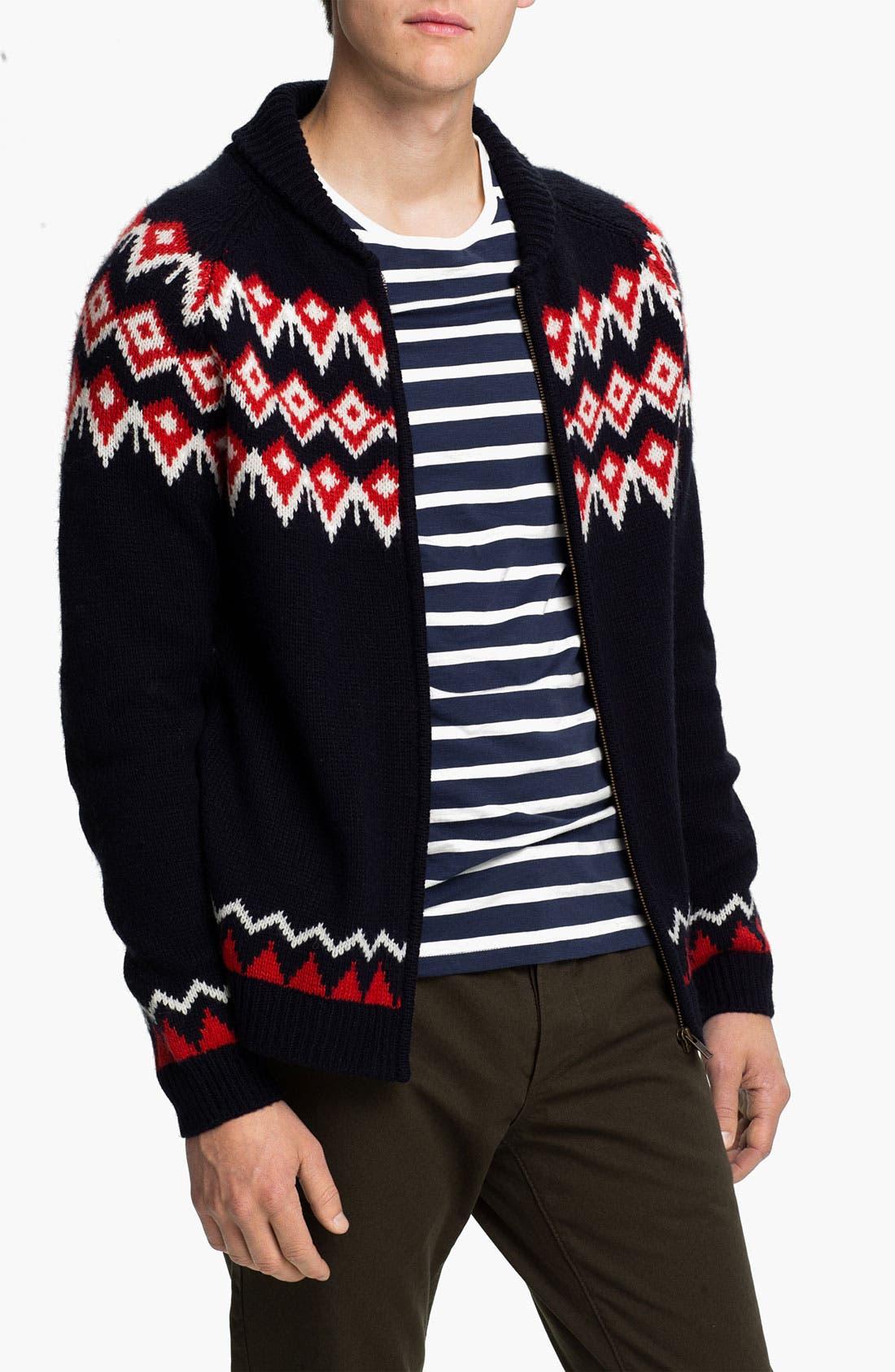 Main Image - Topman Nordic Pattern Zip Shawl Collar Cardigan