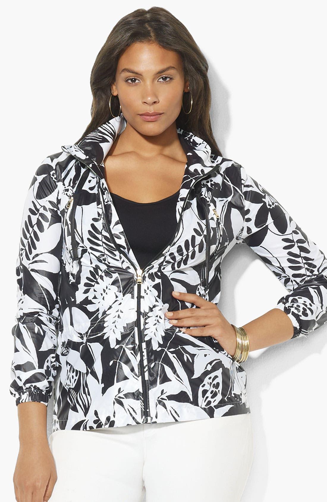 Main Image - Lauren Ralph Lauren Zip Front Hooded Jacket (Plus)