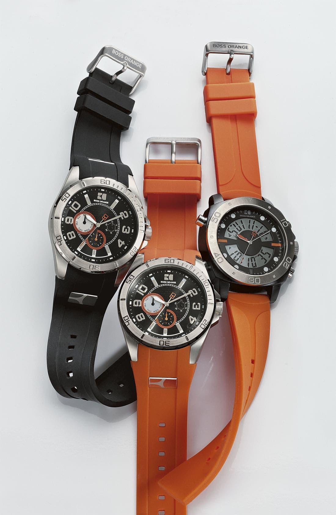 Alternate Image 2  - BOSS Orange Round Silicone Strap Watch