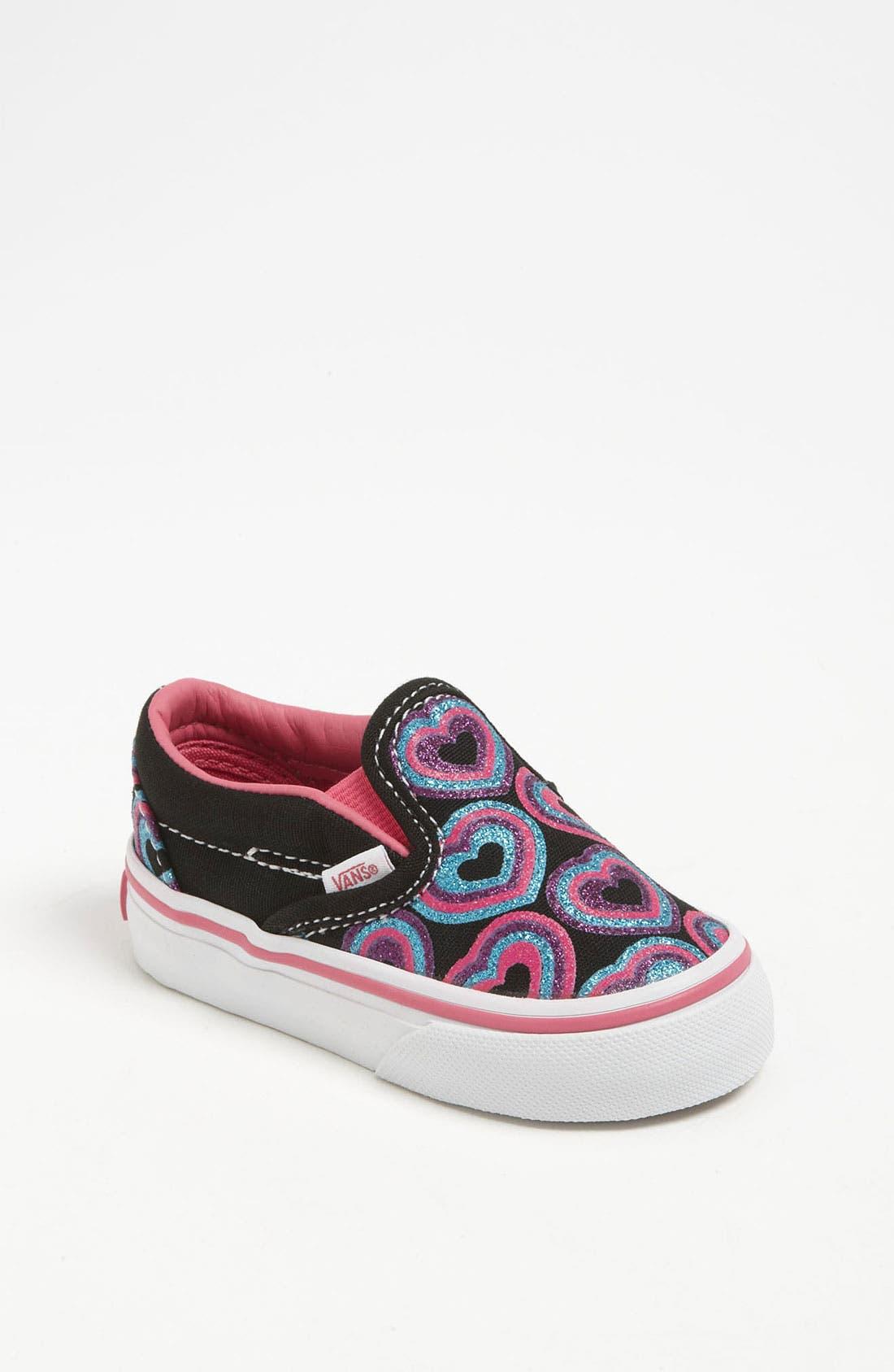 Main Image - Vans 'Classic - Glitter Hearts' Slip-On (Baby, Walker & Toddler)