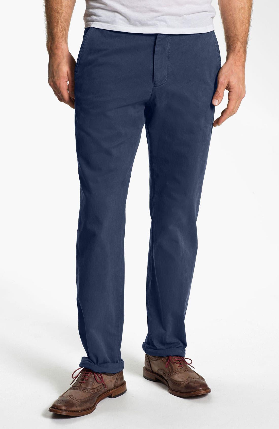 Main Image - Khaki Surplus Straight Leg Washed Cotton Twill Chinos (Online Only)
