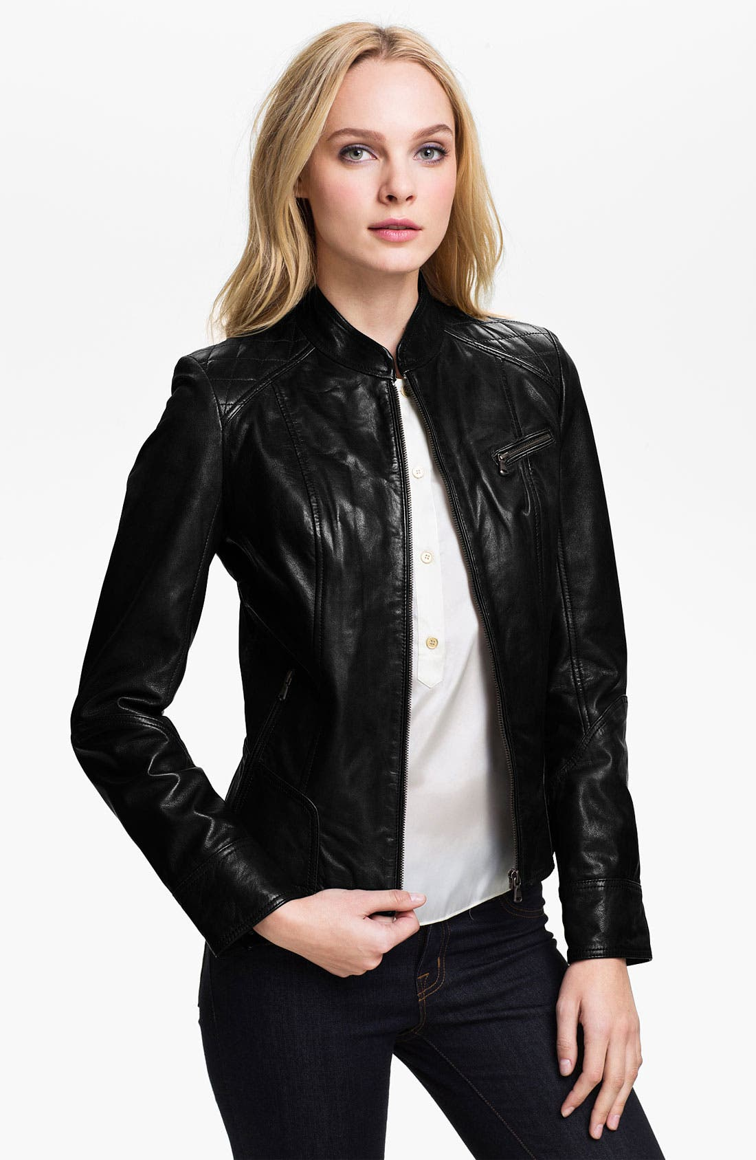 Alternate Image 1 Selected - Bod & Christensen Leather Moto Jacket