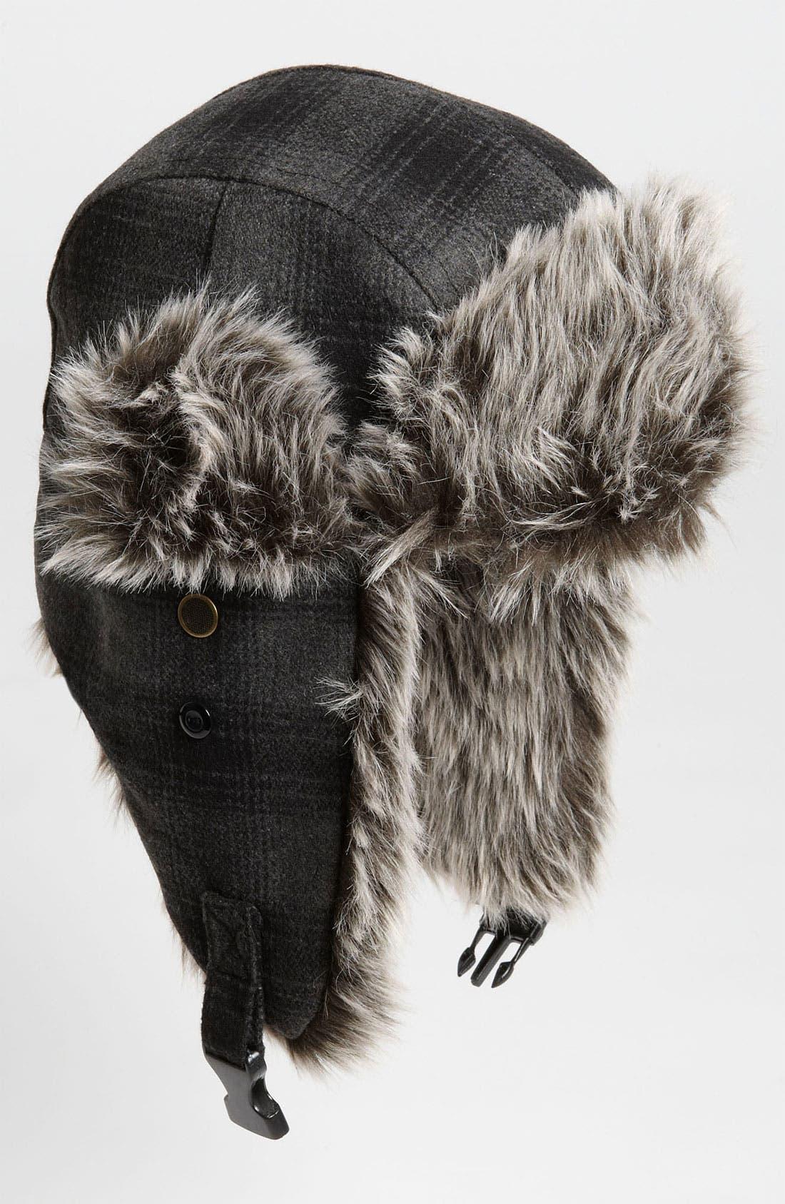 Main Image - Free Authority Plaid Faux Fur Trapper Hat