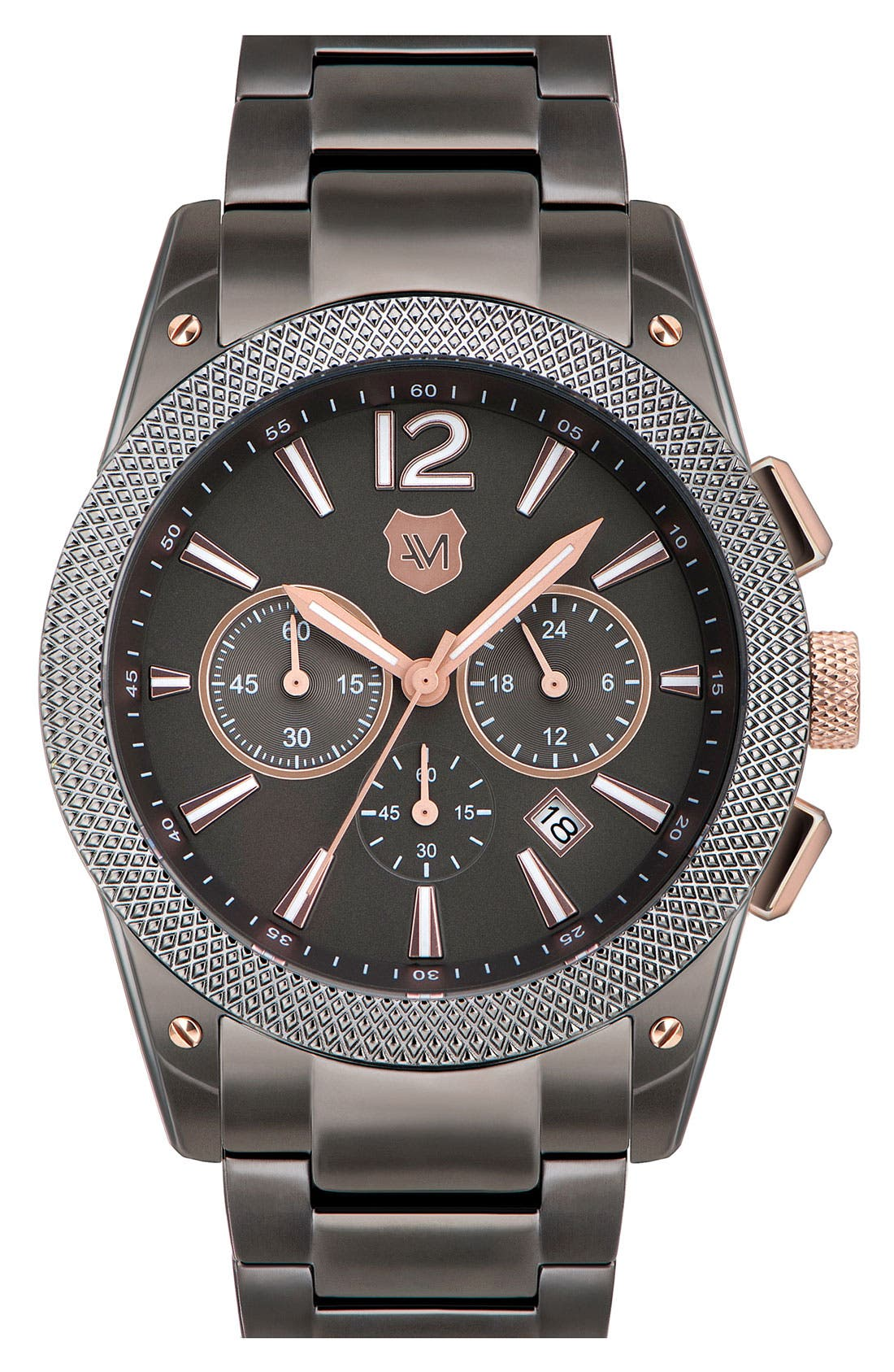 Main Image - Andrew Marc Watches 'Heritage Pilot' Chronograph Bracelet Watch, 45mm