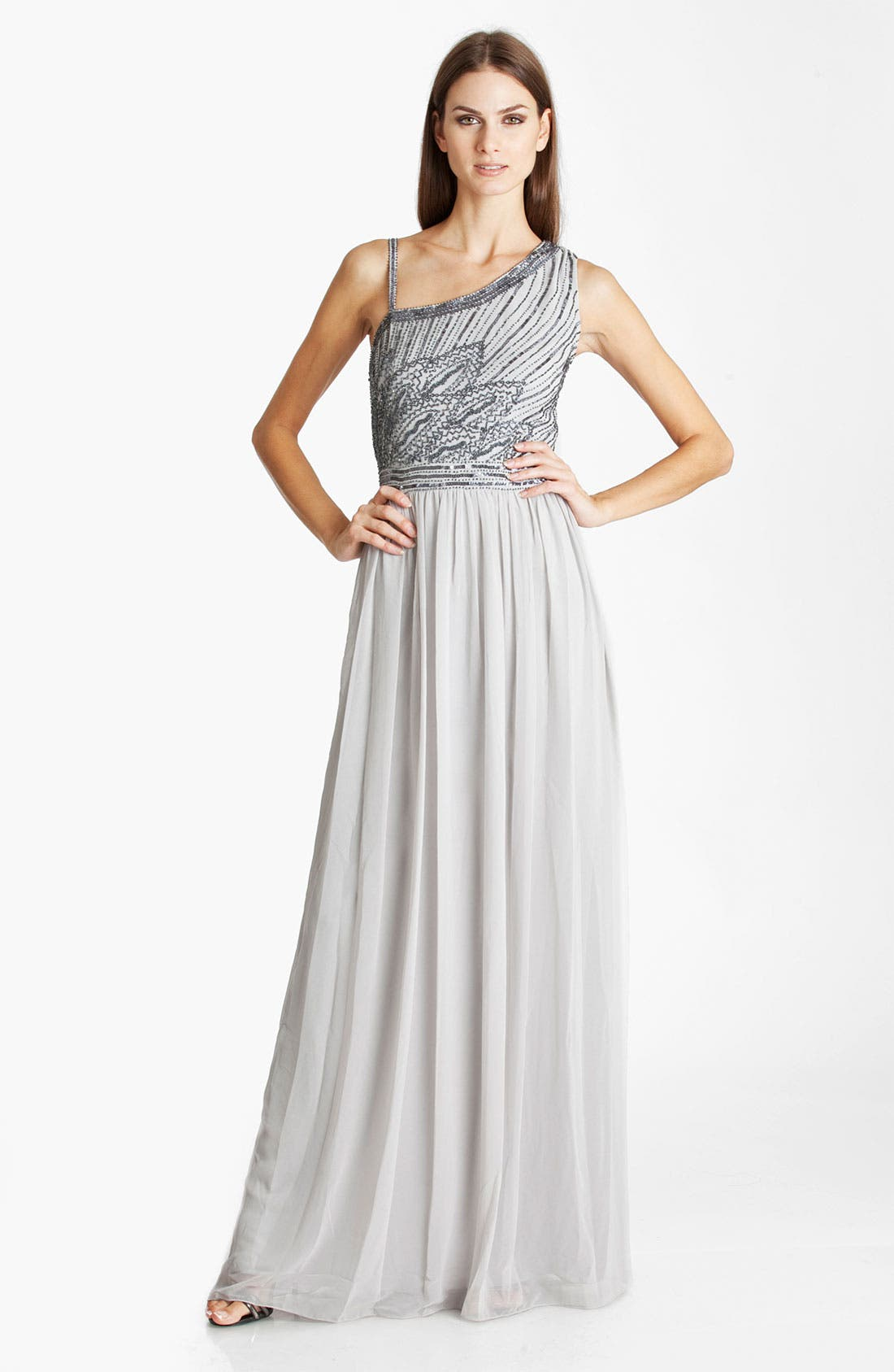 Main Image - JS Collections Beaded Asymmetrical Shoulder Chiffon Gown
