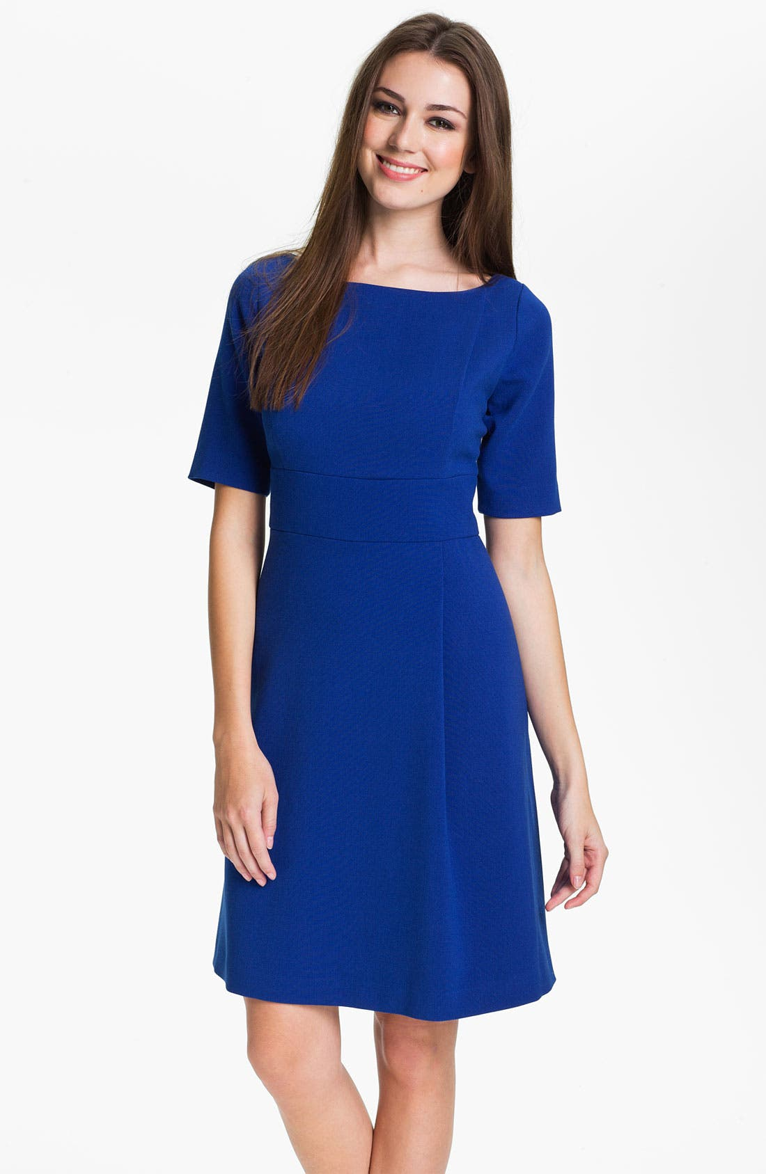 Alternate Image 1 Selected - Eliza J Elbow Sleeve Seam Detail Crepe Dress