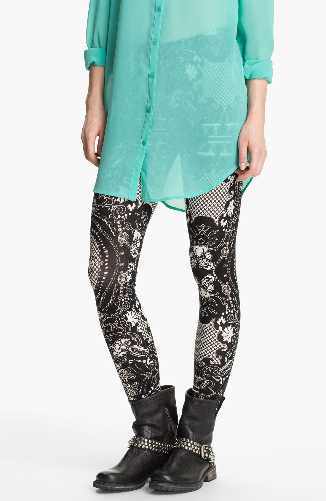 Main Image - Lily White Print Leggings (Juniors)