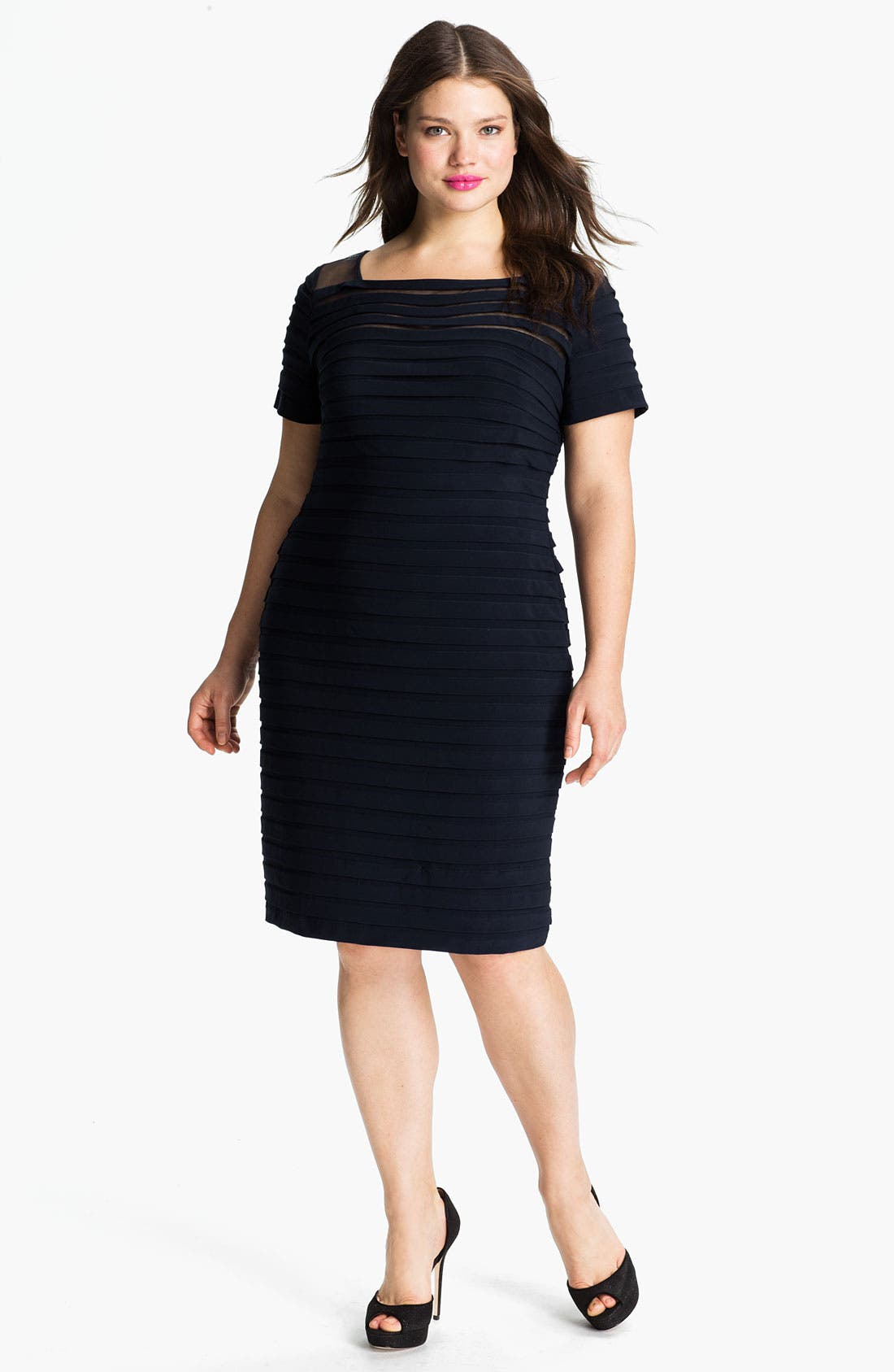 Alternate Image 1 Selected - Adrianna Papell Illusion Bodice Pleated Jersey Sheath Dress (Plus Size)