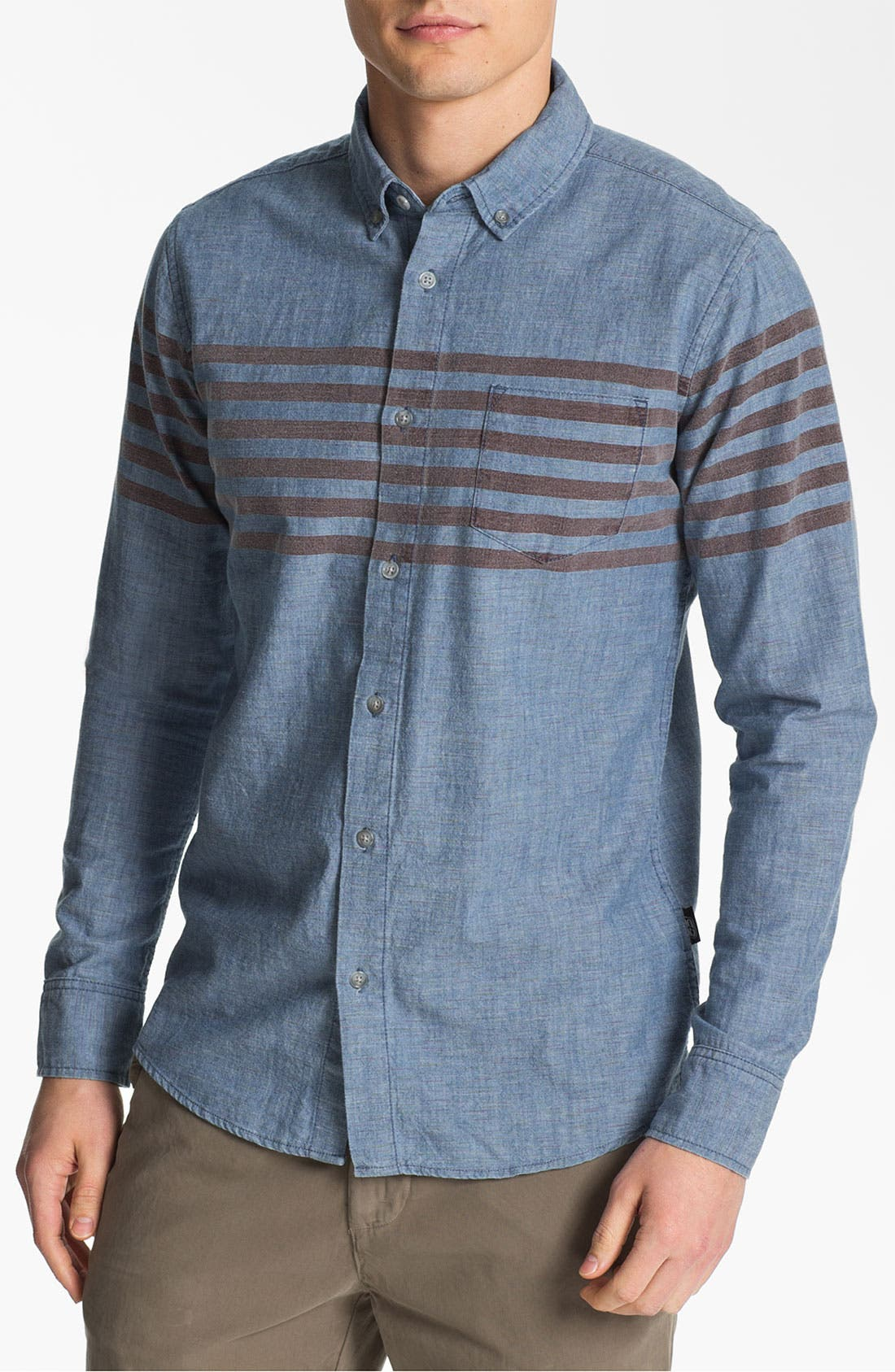 Alternate Image 1 Selected - 55DSL Stripe Print Denim Cotton Shirt