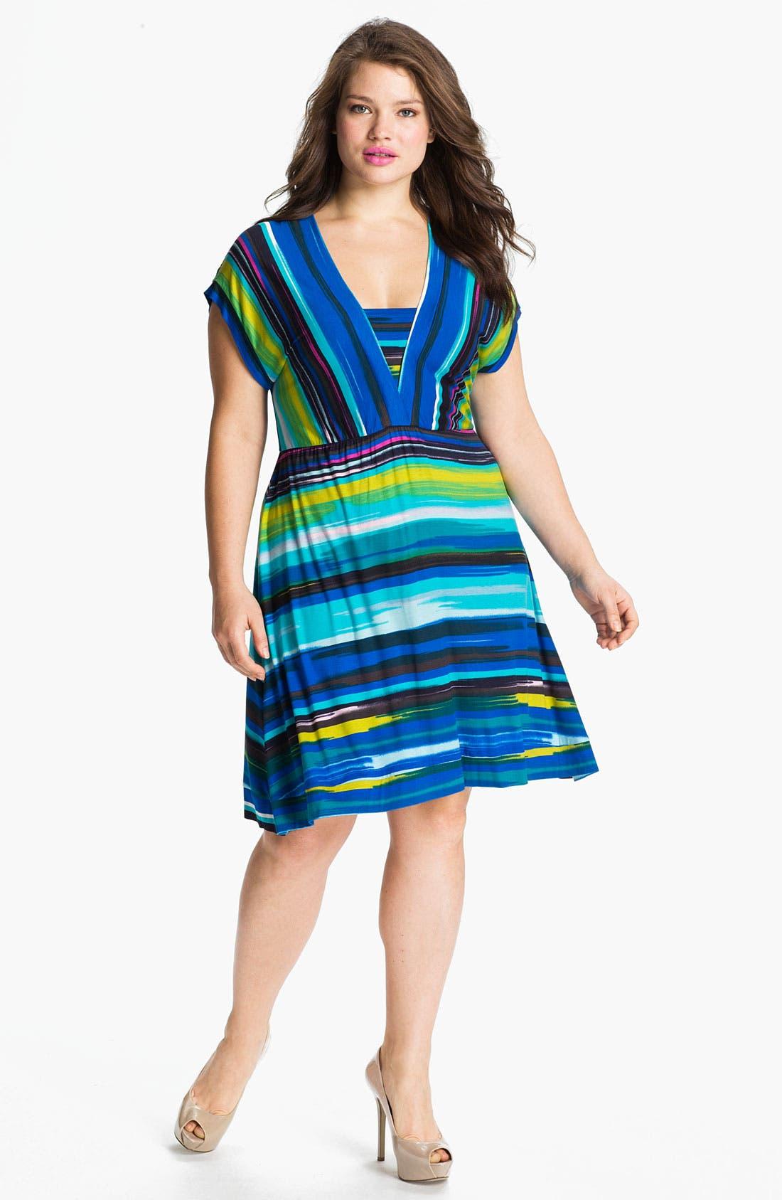 Alternate Image 1 Selected - Calvin Klein Multi Stripe V-Neck Jersey Dress (Plus)