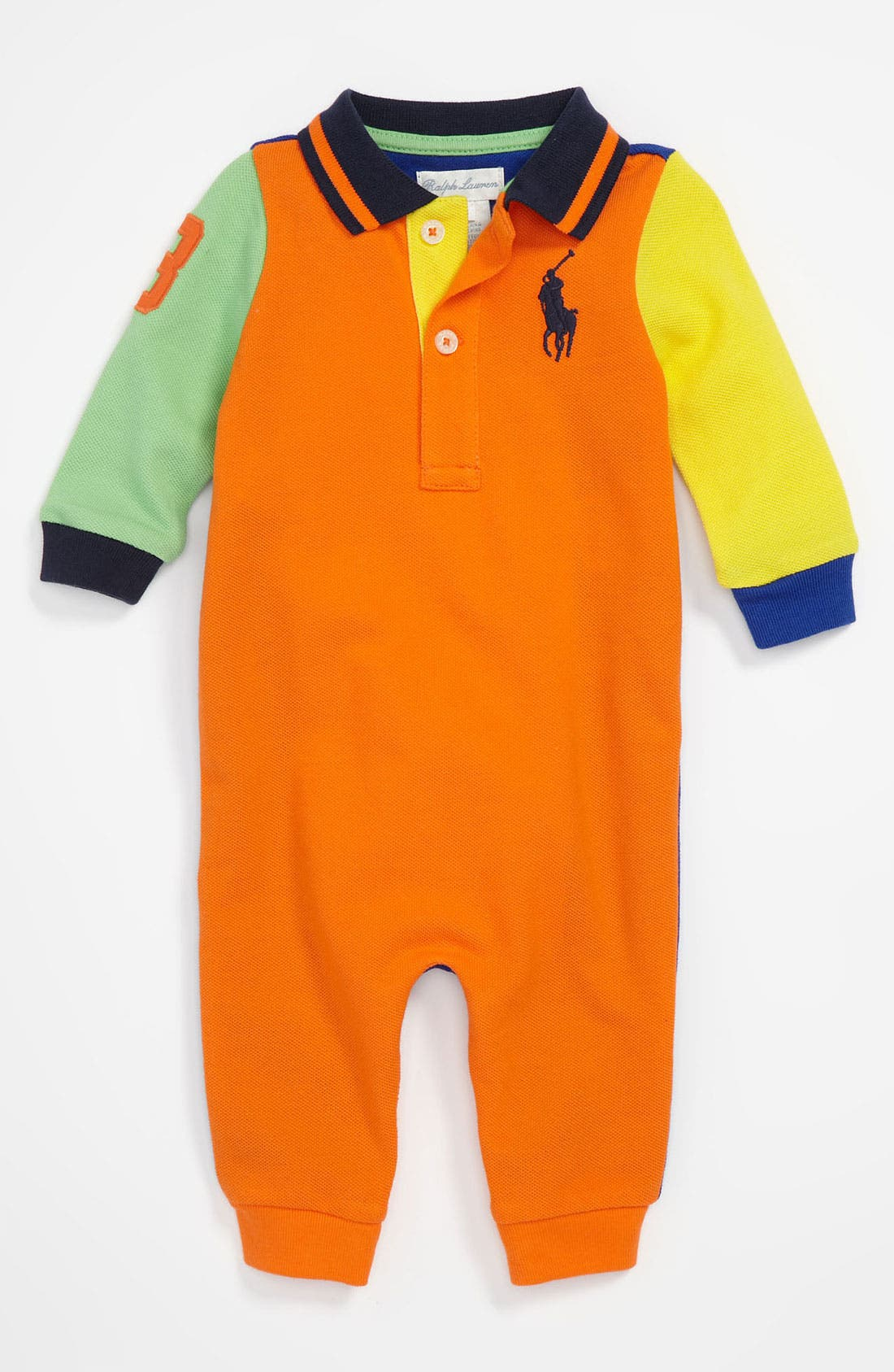 Alternate Image 1 Selected - Ralph Lauren Colorblock Romper (Infant)