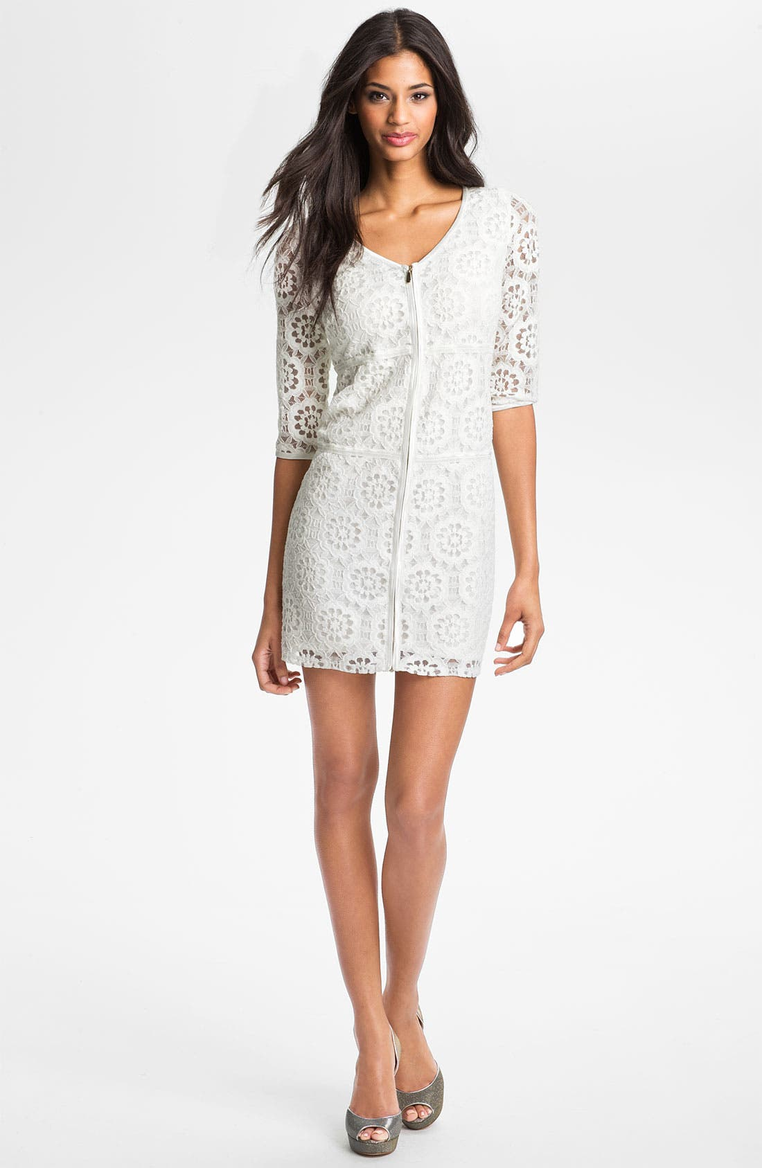 Alternate Image 1 Selected - Laundry by Shelli Segal Illusion Sleeve Lace Dress