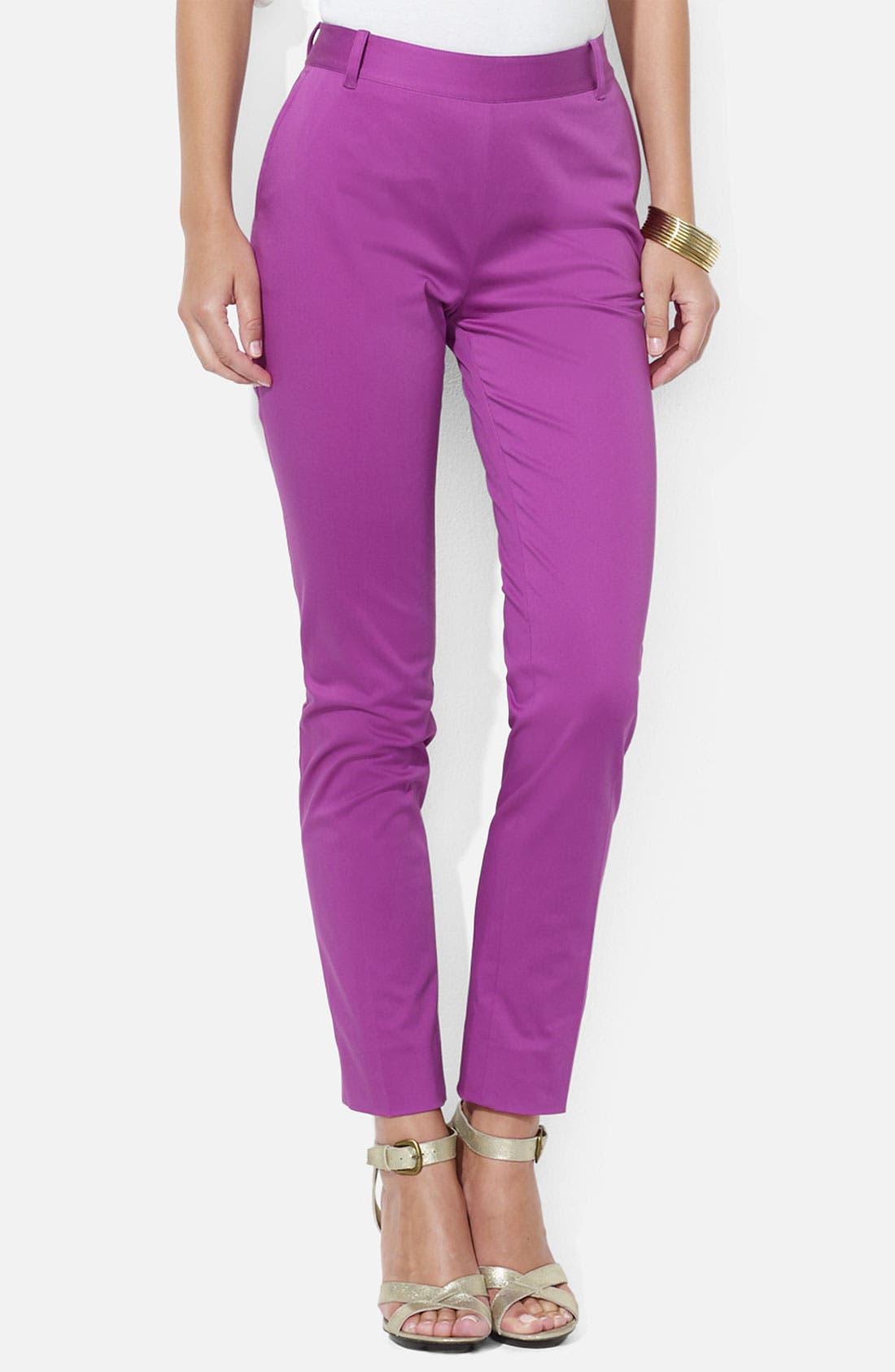 Alternate Image 1 Selected - Lauren Ralph Lauren Stretch Cotton Ankle Pants (Petite)