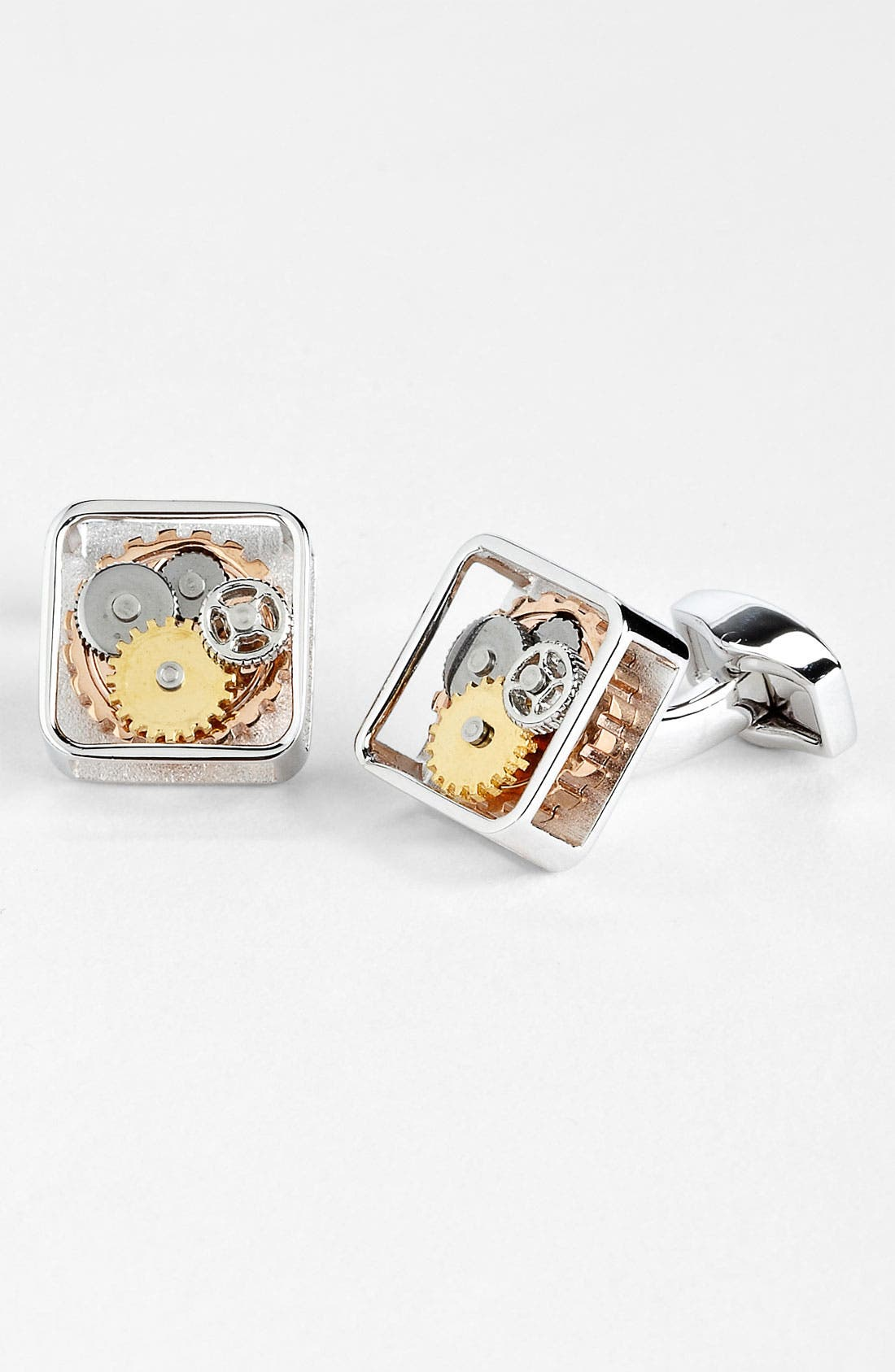 'Gear' Cuff Links,                             Main thumbnail 1, color,                             Silver