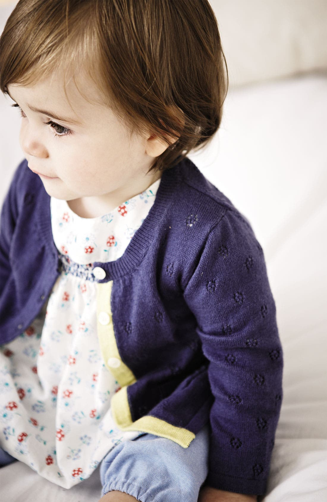 Alternate Image 2  - Mini Boden Pointelle Cardigan (Baby)
